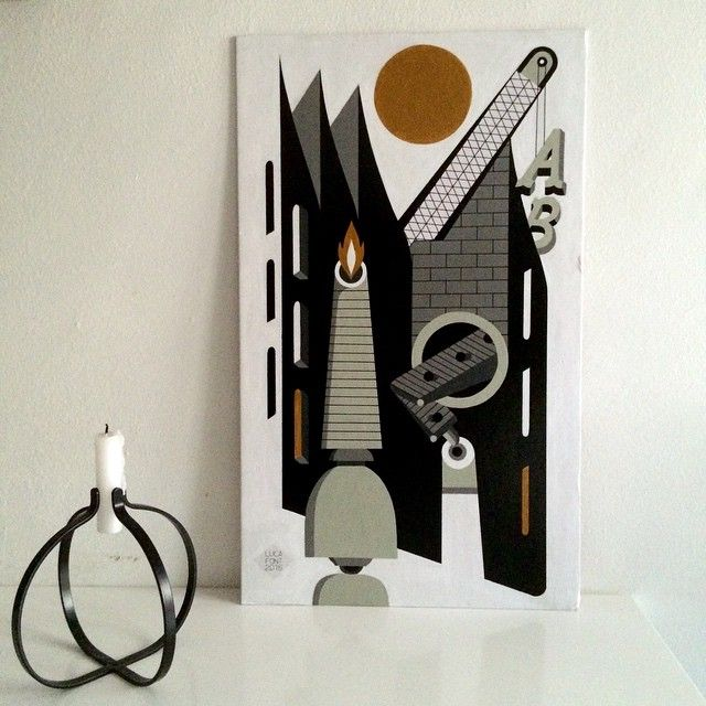 'Type foundry', acrylic on canvas, cm.30x50, 2015.