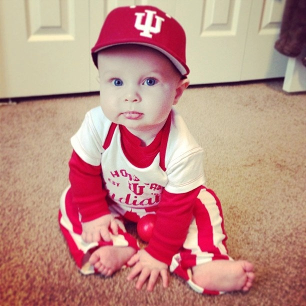 IU candy stripe warm up pants for the young Hoosier Fan!