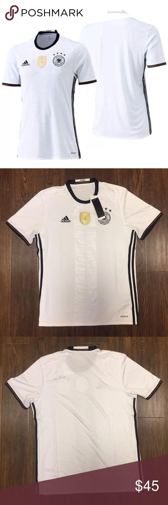 Adidas 2016-17 World Cup Germany Soccer Jersey Material : 100% Polyester   Climacool technology   Mesh ventilation inserts   Rubbed crewneck with German flag on back collar   Adidas logo embroidered on black on upper right chest   Gold World Cup patch sti