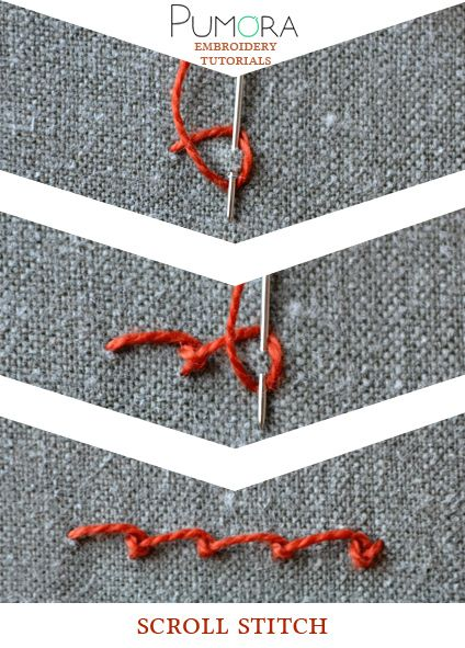 Pumora's lexicon of embroidery stitches: the scroll stitch