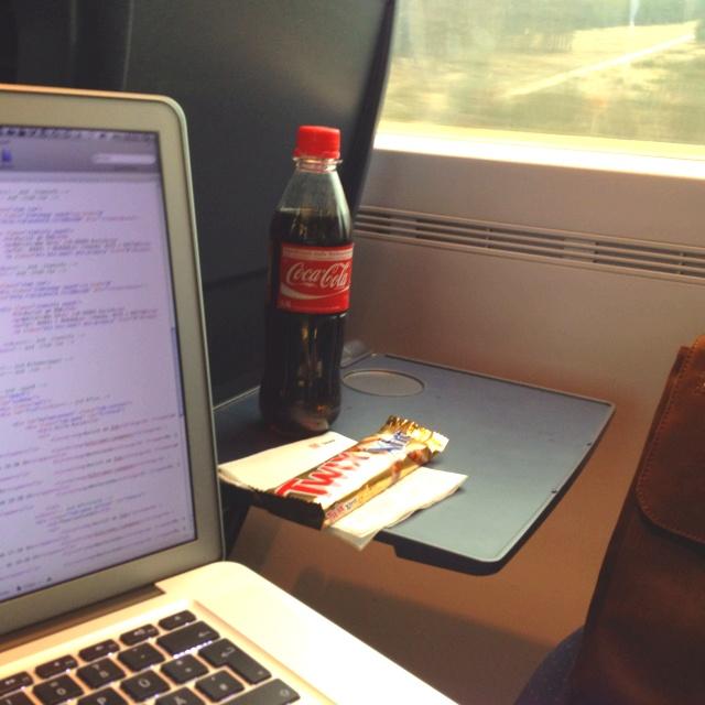 Coding in the train.