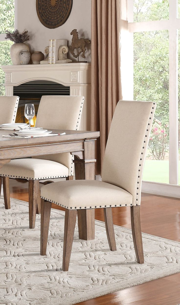 Homelegance 5108S Side Chair, Neutral Fabric