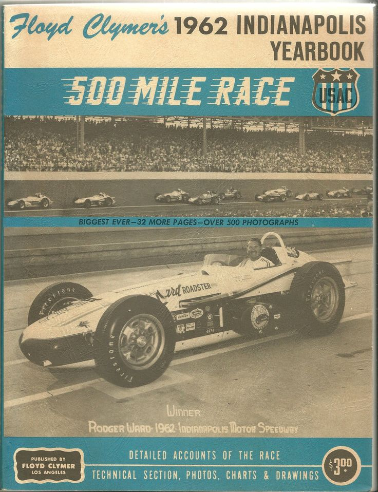 1962 ORIGINAL Indianapolis 500 Mile Race Yearbook, Floyd Clymer, Roger Word by ShopDadsCollection on Etsy