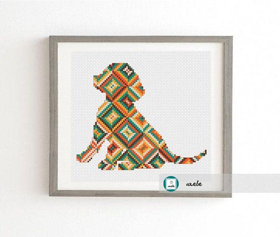 Modern cross stitch pattern geometric puppy PDF  instant