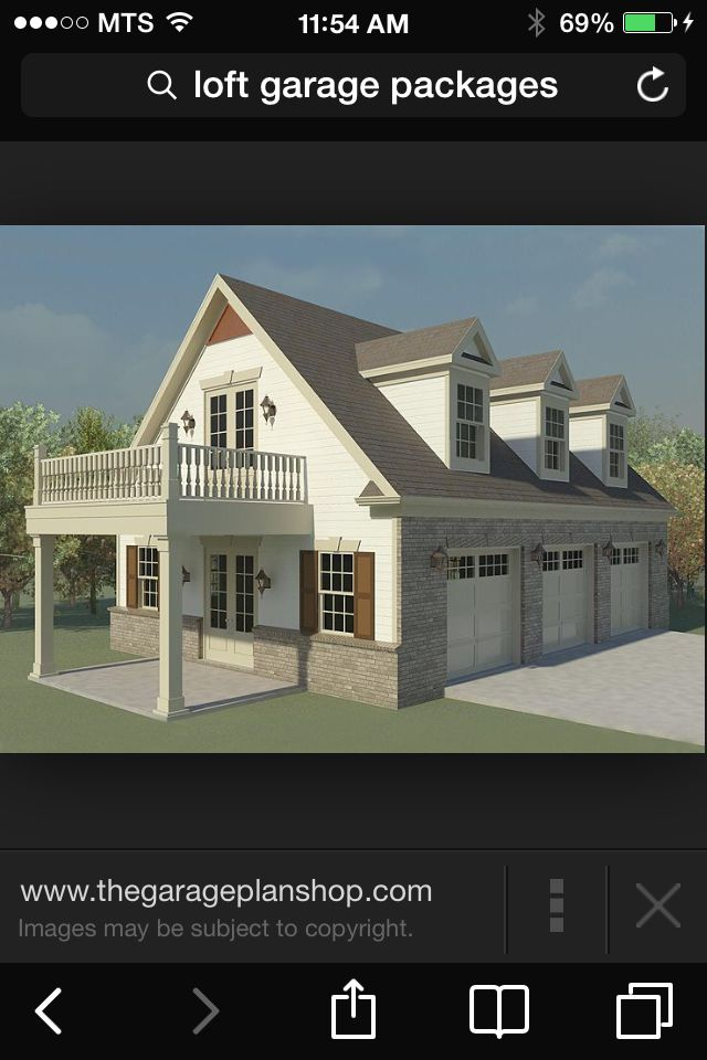 Same Idea As Our Above Garage Apt, But The Balcony Would Extend Across The  Whole · 3 Car Garage PlansGarage ...