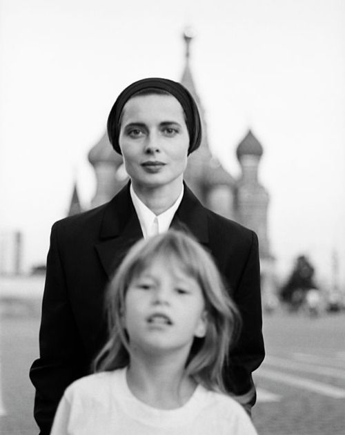 Isabella Rossellini and daughter, Elletra Wiedemann In Moscow, 1990..,Actress, Model & Ad Maven, Rossellini, and Her Lovely Daughter Both Resemble Their Famous Mother/Grandmother, The Late Ingrid Bergmann...Two Beauties, Indeed!!