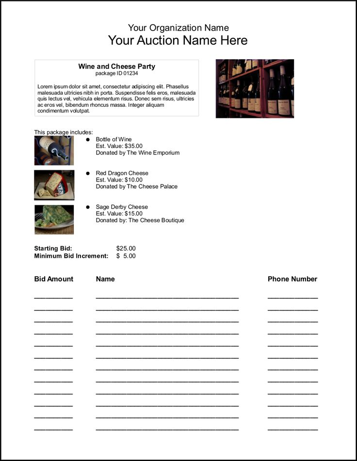 Silent auction bid sheets fund raising pinterest for Silent auction catalog template