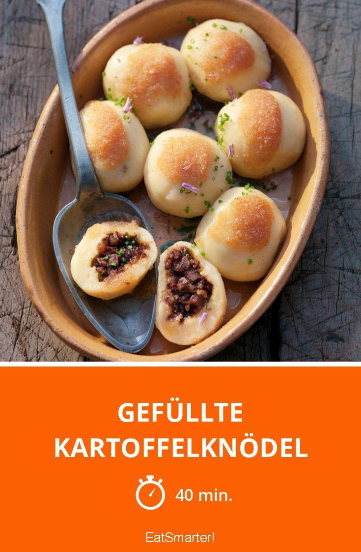 Gefüllte Kartoffelknödel mit Champignons und Speck   http://eatsmarter.de/rezepte/gefullte-kartoffelknodel