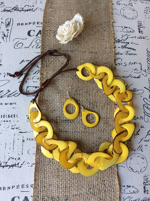 Yellow statement necklace set. Wife Christmas gift. Tagua nut jewelry