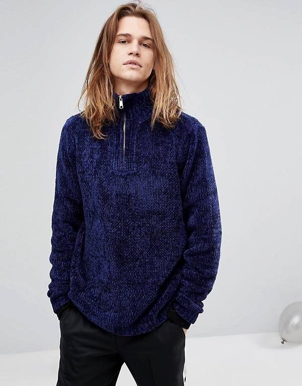 ASOS Heavyweight Chenille Half Zip Sweater In Dark Blue  4a2f1f90d
