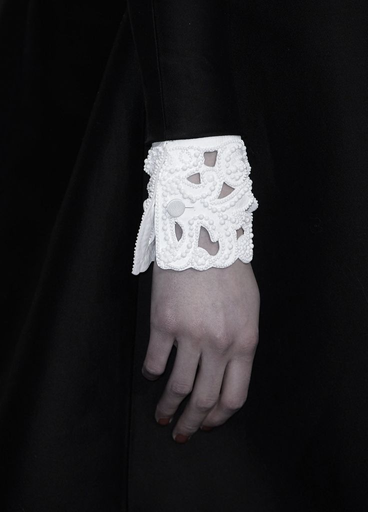 Beaded Cuffs - white on white embellishment; bold monochrome fashion details // Valentino