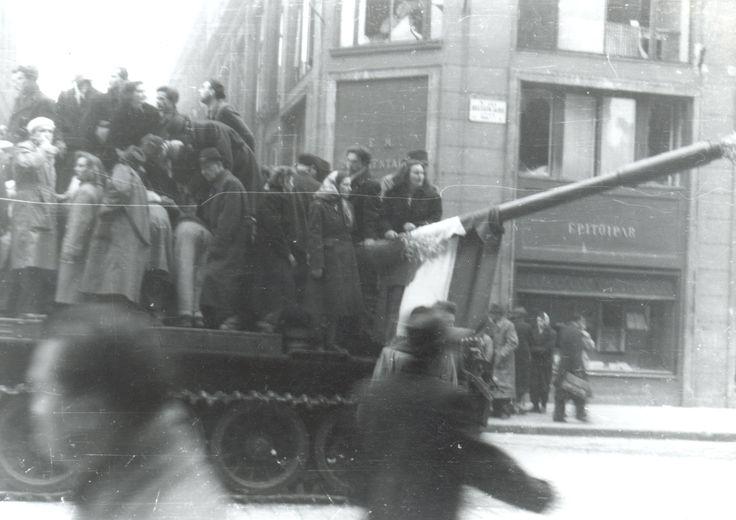 Tüntetők | Demonstrators capturing a tank #revolution #1956 #hungary #houseofterror #communism #demonstration #tank