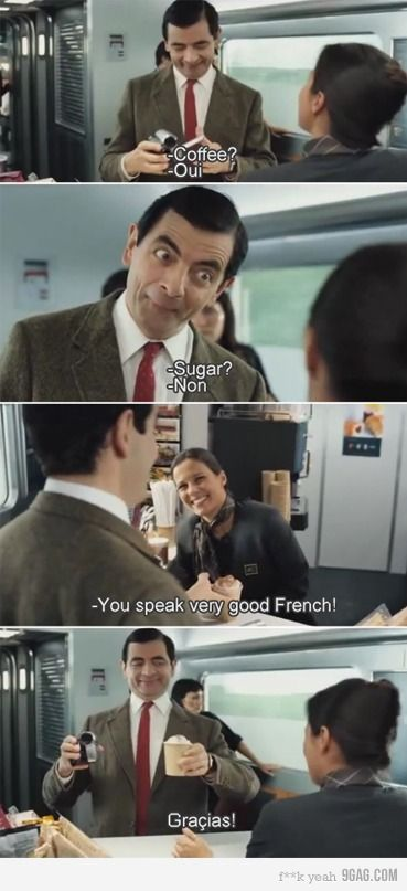 Mr. Bean. When we watch this movie my whole family busts a gut. Half because the movie is funny and half because my dad laughs harder than we knew possible.