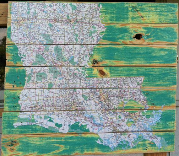 Recycled map Louisiana, decoupaged Louisiana map on reclaimed wood Atom Rouge