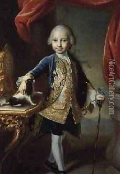 Portrait of a Boy with Pet Spaniel Oil Painting - Martin II Mytens or Meytens