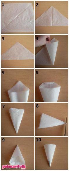 Adım adım yağlı kağıttan sıkma torbası yapımı | Mutfak | Pek