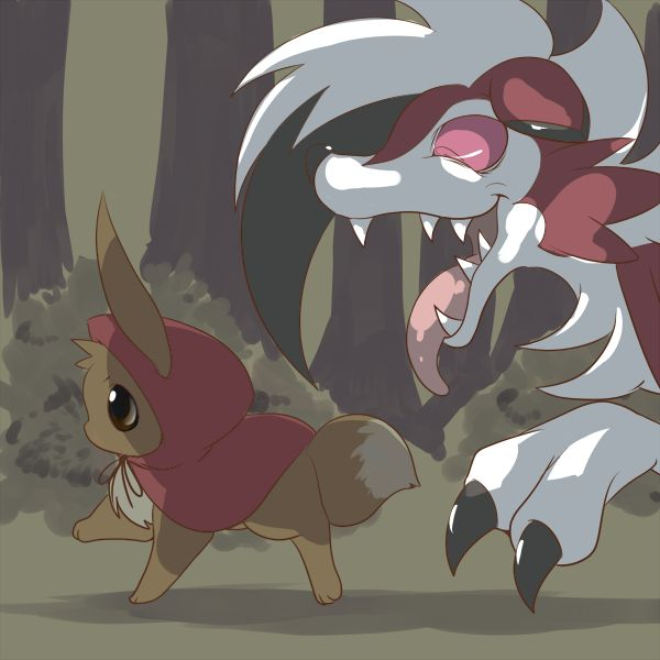 Litter Red Riding Hood with Eevee and Lyncanrock midnight form