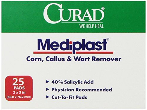 Curad Mediplast 40% Salicylic Acid Pads, 25 Count. The active ingredient in MediPlast is Salicylic Acid(40%), the ingredient widely recommended by physicians and pharmacists for the removal of corns, calluses and warts. Curd mediplast is an ideal product for corns, calluses and warts. Our cut-to-fit pads are convenient and easy to use. Latex free. Item dimensions: (width: 313), (height: 25) hundredths-inches. Publication Date: 2012-11-07.