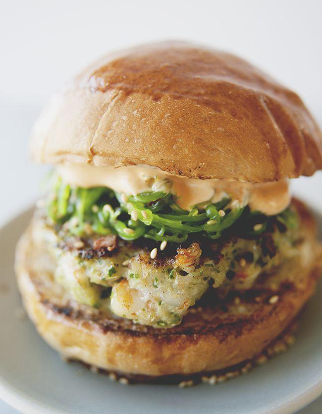 SHRIMP BURGER WITH WAKAME SLAW  // The Kitchy Kitchen