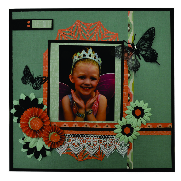 HAPPINESS SCRAPBOOK PAGE. Please send an email to frendz@frendz.com.au to order your pack which will include everything you need to create this page.