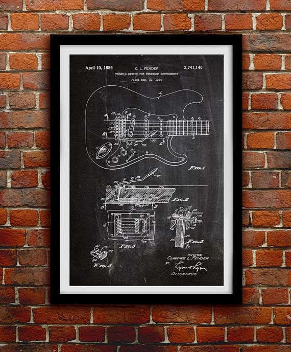 Original Fender Guitar 1956 - Music Decor - Patent Print Poster Wall Decor - 0074    Hang a piece of history in your Home, Office, Man Cave or