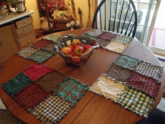 Rustic Rag Quilt Placemats  Country Quilts by TheLaughingBlackbird, $9.00