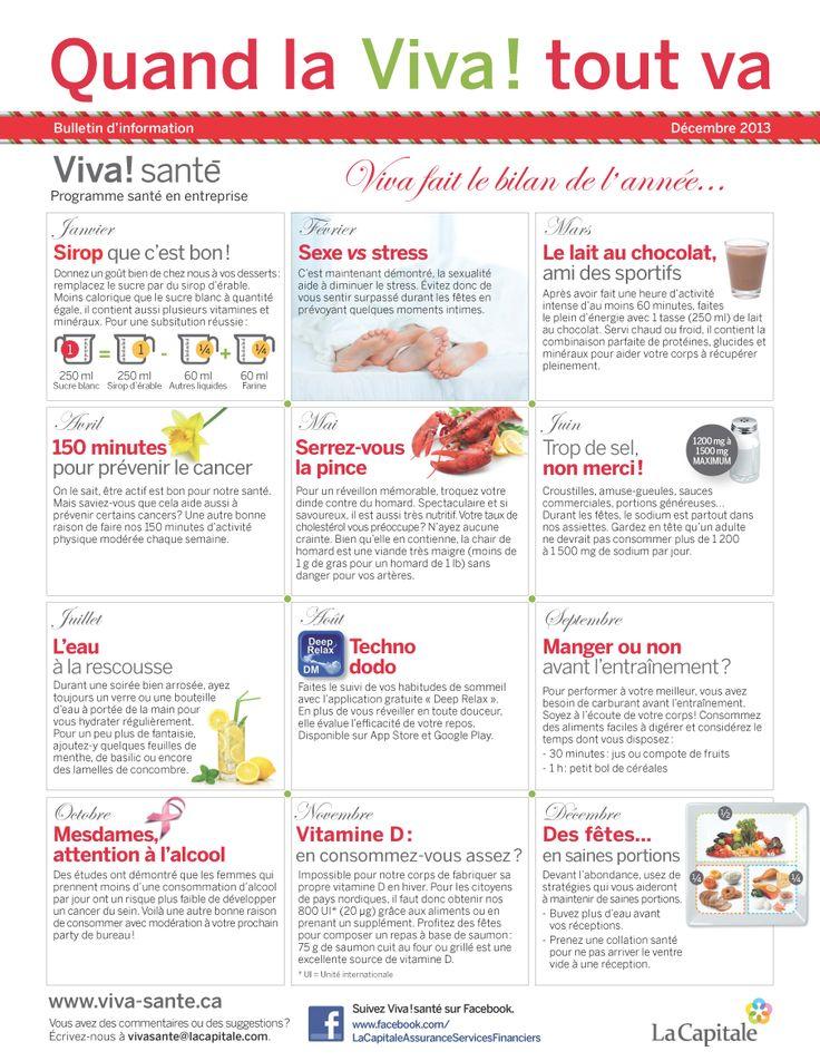 Bulletin Viva! Santé décembre 2013 VIVA Programme santé en entreprise est un programme clé en main, répondant aux besoins des employeurs en matière de prévention, de promotion de la santé et du mieux-être. Composez le 1 844-559-8482 (VIVA), écrivez à viva@lacapitale.com ou visitez http://viva.lacapitale.com/fr