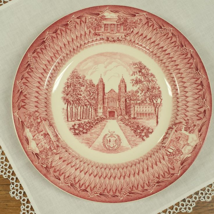 The Chapel Bates College Pink/Red Transferware Commemorative/Dinner Plate by FeeneyFinds on Etsy