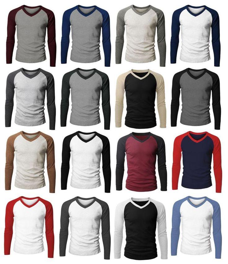 Mens Fashion Long Sleeve V-neck Raglan  T-shirt Sale (149D)