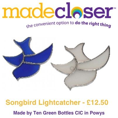 Product of the Week: The Songbird Lightcatcher made by Ten Green Bottles CIC in Powys has been hand made in the UK from recycled glass and is available in either a blue or frosted glass finish