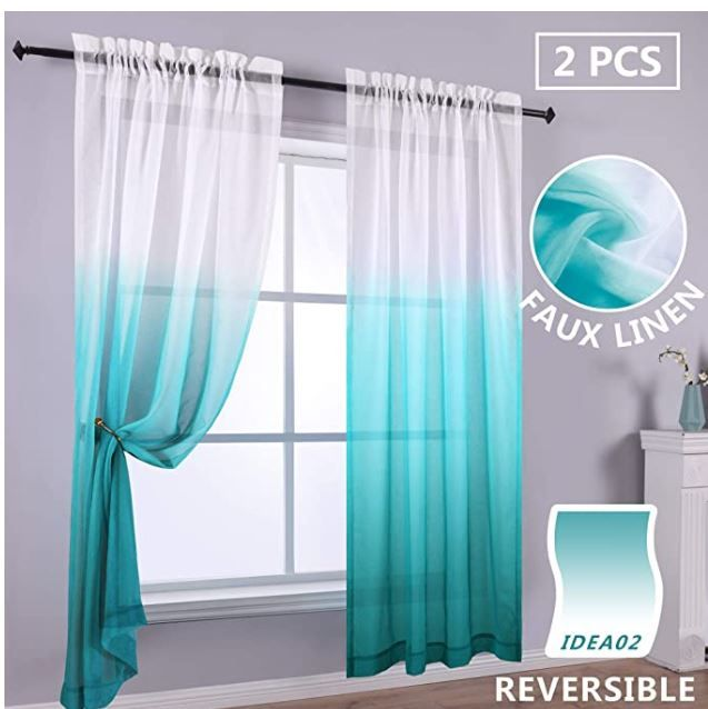Teal Curtains 63 Inch Length For Kids Room Set Of 2 Panels Ombre Decorative Home Decor Modern Teal Curtains Ombre Curtains Curtains Living Room
