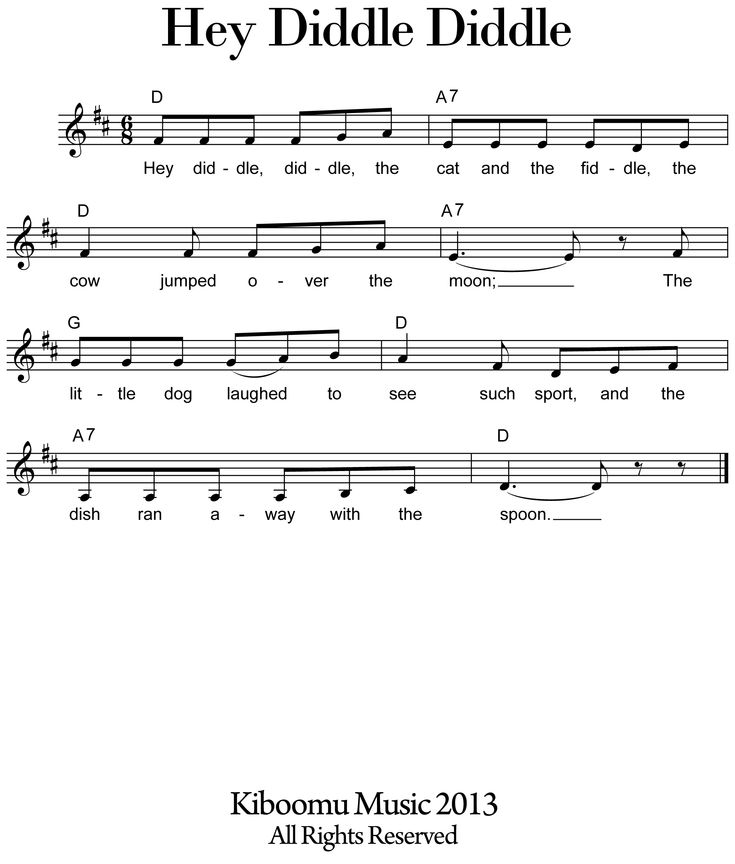 From The Ground Up Sheet Music With Lyrics: Hey+Diddle+Diddle+Sheet+Music+Download+Hey+Diddle+Diddle