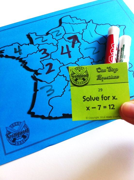 """It's like the game of """"Risk,"""" but for 6th and 7th grade math class!  A fun way to practice order of operations and solving equations.  Keep battling the same opponent as your game goes on and on with different math problem card sets until one player takes over the whole map!"""