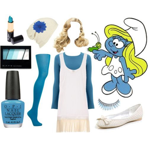 Smurfette = absolutely adorable!  White dress, blue tights and long-sleeve shirt,  white shoes, blonde wig, blue make-up and nails.