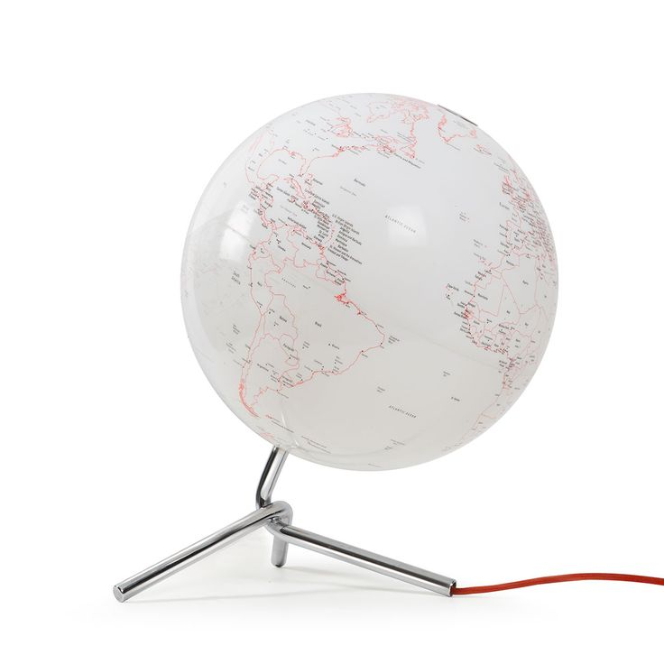 Articolo: 0331NONOINY110L0Nodo di Atmosphere e' un mappamondo con luce. Ha la cartografia bianca e rossa, base acciaio cromato. Lampadina compatibile ed inclusa: E14 - FBT 7W