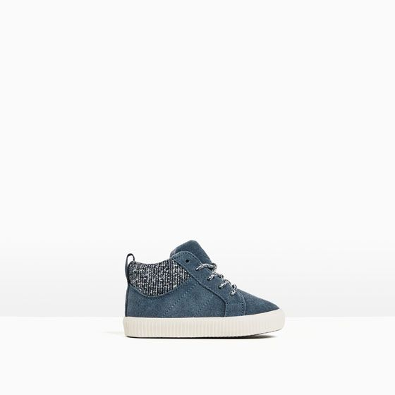 Image 1 of LEATHER HIGH-TOP SNEAKERS from Zara