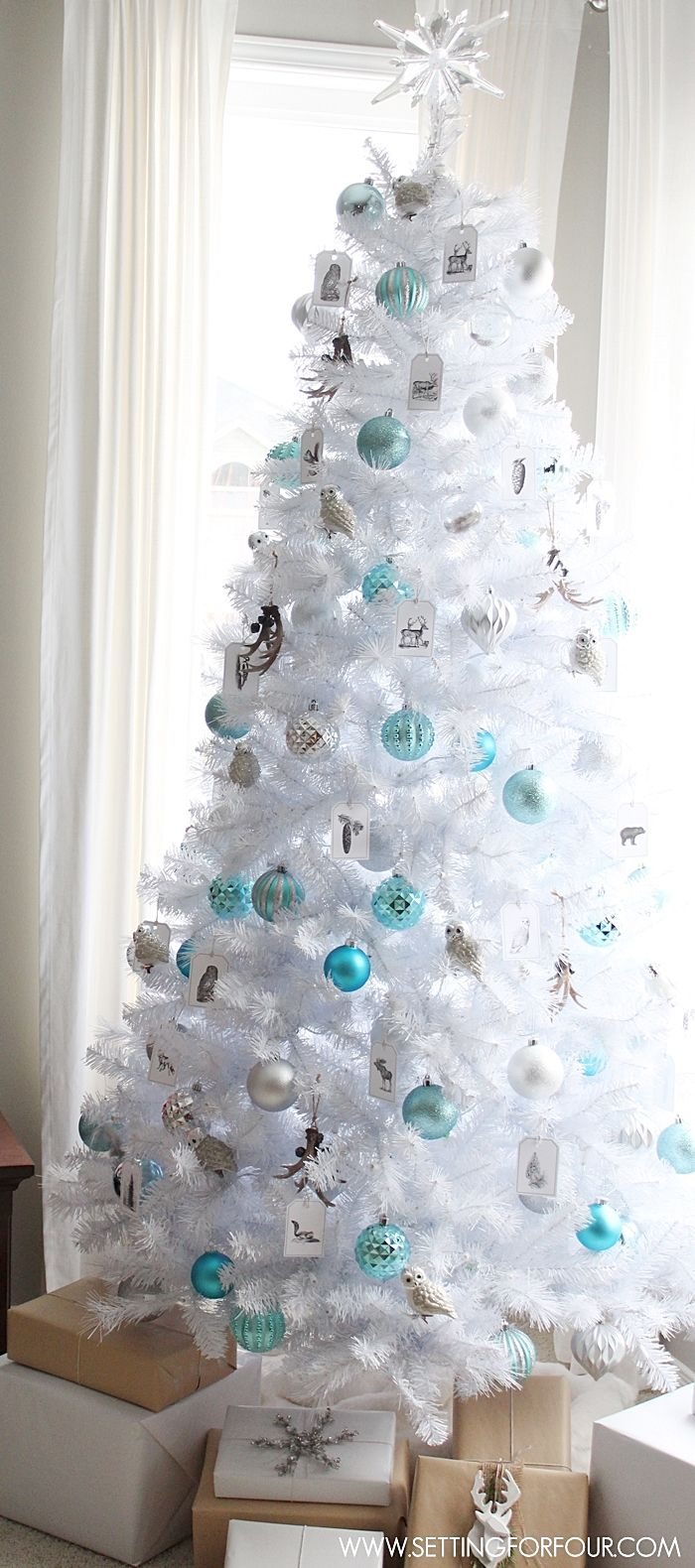 Blue christmas trees decorating ideas - See How I Decorated My Winter Woodland Glam White Christmas Tree For The Holidays Diy
