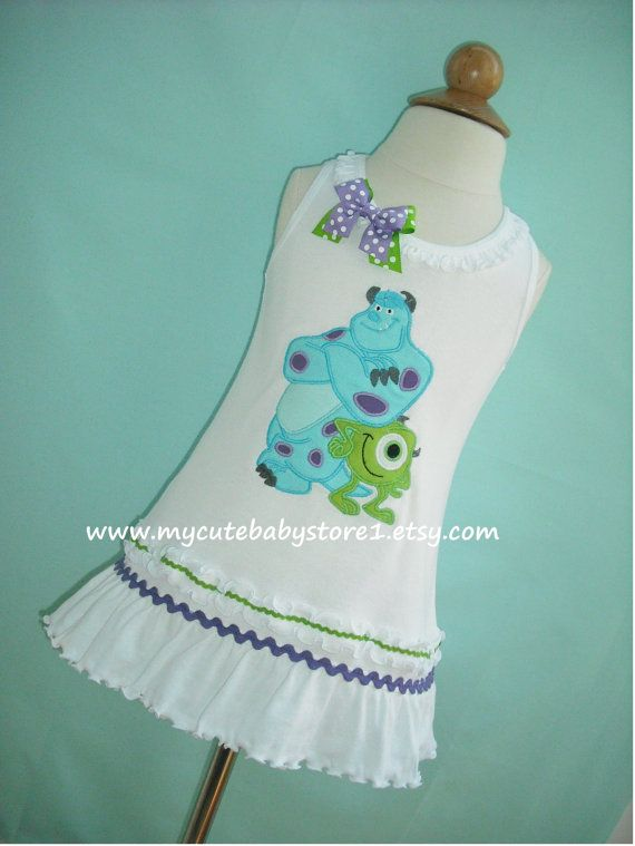 Mike and Sully from Monsters Inc Ruffle Girl Dress....100% Cotton.................Available in short and long sleeve
