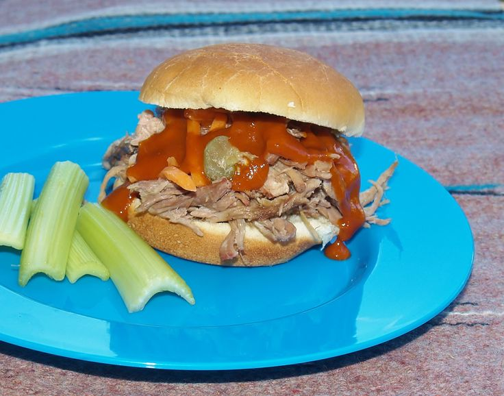 Crock Pot Pickle Pork. We made this on hawaiian bread buns w a light drizzle of honey bbq. It tasted reminiscent of chik filet in that it had that awesome pickle marinade. It need a bit of salt. We froze half to use in other dinners.