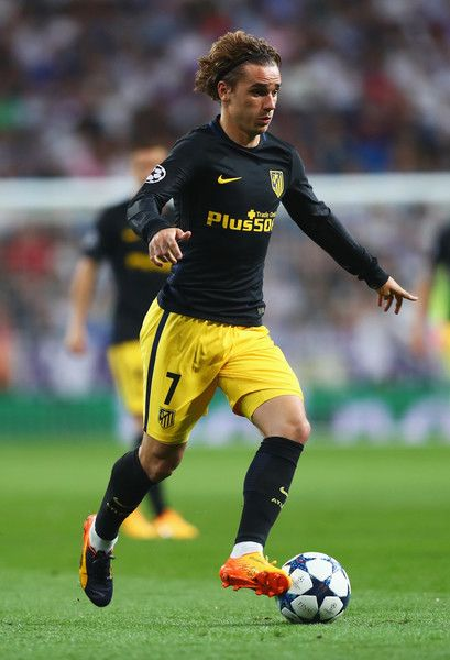 Antoine Griezmann of Atletico Madrid in action during the UEFA Champions League semi final first leg match between Real Madrid CF and Club Atletico de Madrid at Estadio Santiago Bernabeu on May 2, 2017 in Madrid, Spain.