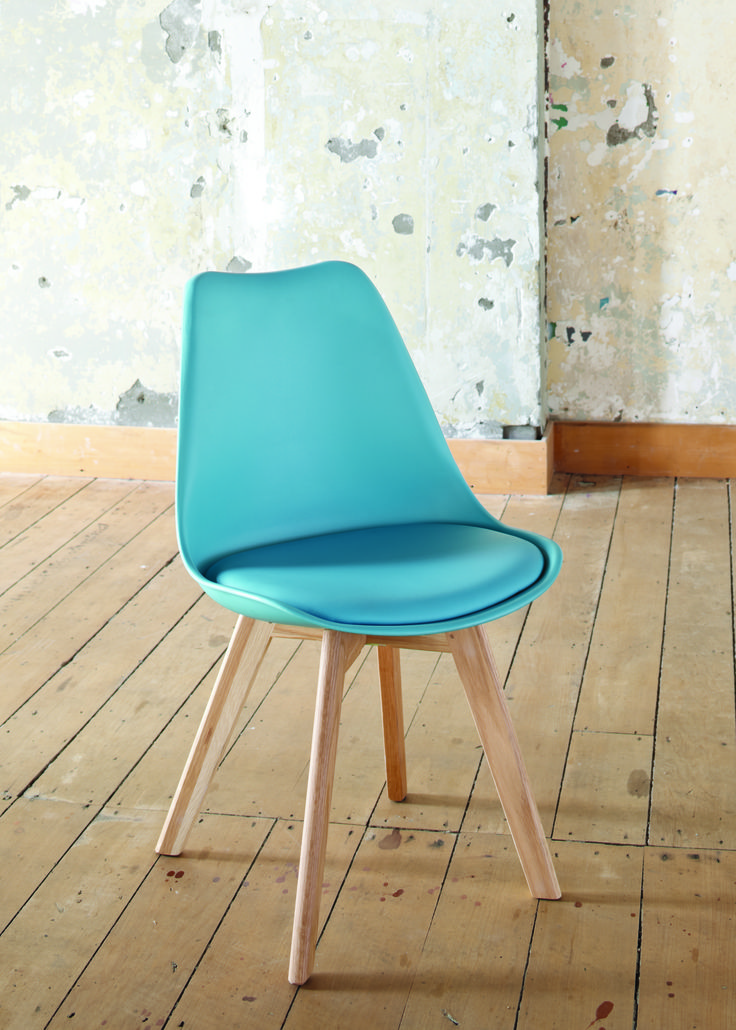 This funky colourful chair has been designed with retro style solid oak legs, plastic top and a padded seat insert.  This chair also works well as a dining chair adding a splash of colour to your dining room.