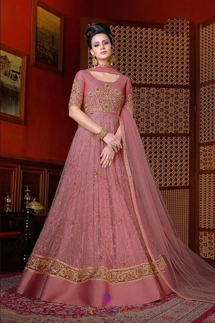 5abefe58fcf Wine Designer Embroidered Floor Touch Anarkali Salwar Kameez In Net Fabric
