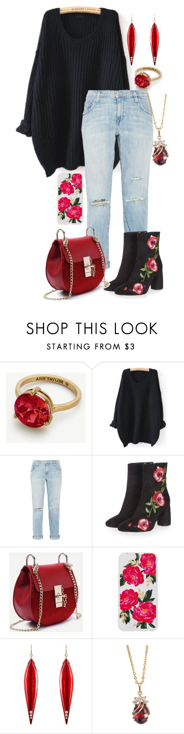 """Casual New Year"" by major-12 ❤ liked on Polyvore featuring Ann Taylor, WithChic, Current/Elliott, Topshop, Sonix and Mark Davis"
