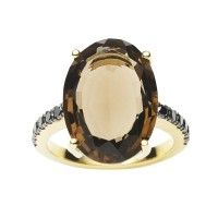 18CT SMOKY QUARTZ & BLACK DIAMOND BIANCA RING jan logan