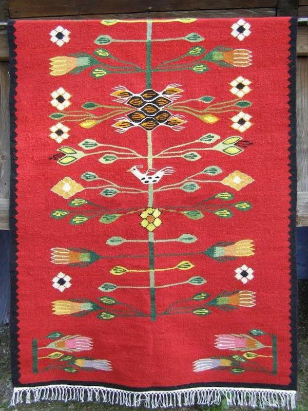 Handmade Romanian traditional rug