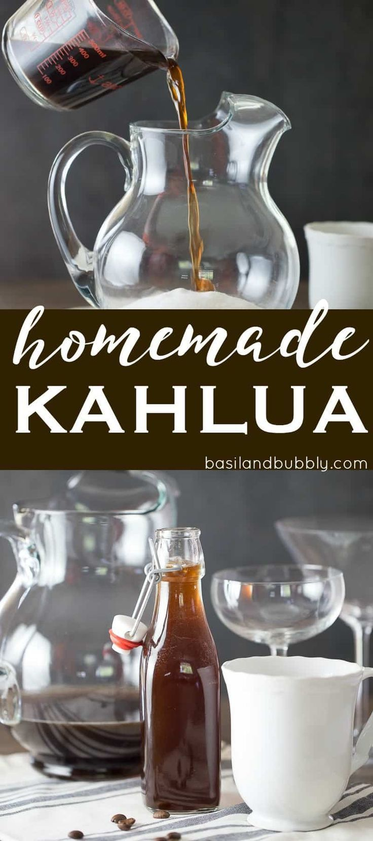 How to make the best homemade kahlua with rum, brewed coffee, and vanilla bean. Easy recipe, with option for using vodka or everclear instead of rum.