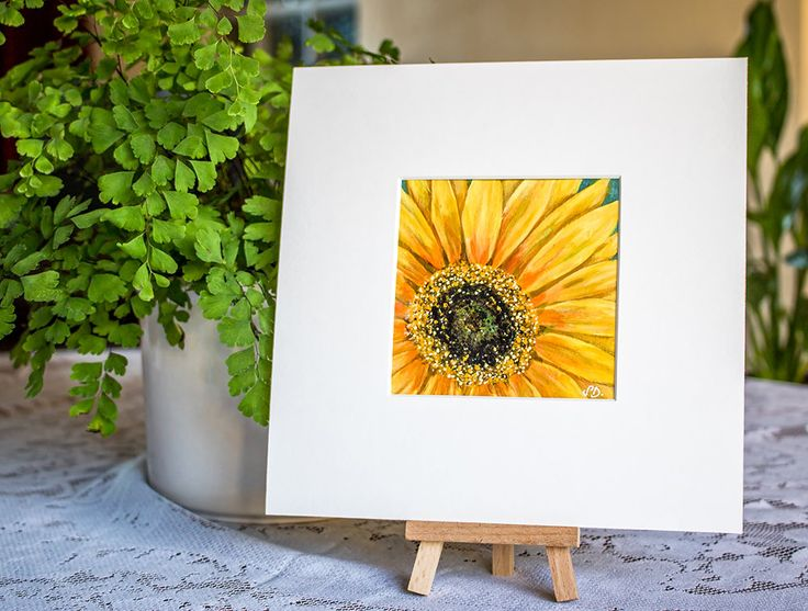 Original Acrylic Sunflower Mini Painting, 4x4 inches, Original Art, Original Floral Art, Original Painting, Close Up Sunflower Painting, by SBsPrintables on Etsy