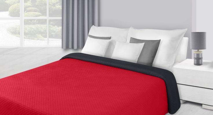 Červeno čierny obojstranný prehoz na postele