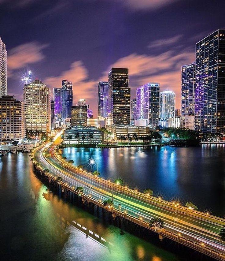 Miami At Night Miami Florida Miamibeach Sobe Southbeach Brickell Miami By Oasisjae Miami City Miami Skyline Miami Travel