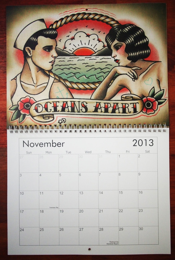 Traditional Tattoo Art Calendar 2013. $30.00, via Etsy.